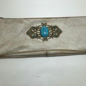 Deux Lux Leather Turquoise Embellishment Purse
